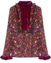 Anna Sui Velvet-Paneled Printed Silk-Blend Chiffon Blouse