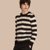 Burberry Striped Ribbed Wool Mohair Blend Sweater