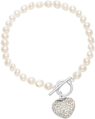 "Sterling 7-1/2"" Cultured Freshwater Pearl Toggle Bracelet"