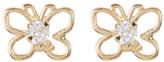 Candela 14K Yellow Gold CZ Butterfly Stud Earrings