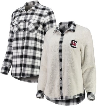 Unbranded Women's White/Cream South Carolina Gamecocks Reversible Sherpa Flannel Long Sleeve Button-Up Shirt