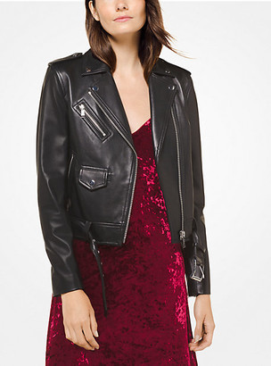 MICHAEL Michael Kors MK Leather Moto Jacket - Black - Michael Kors