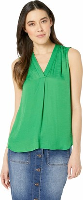 Vince Camuto Specialty Size Womens Petite Sleeveless V-Neck Rumple Blouse Emerald Leaf PXS