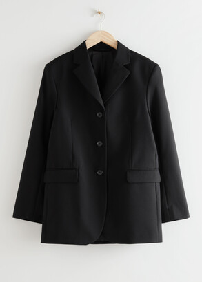 And other stories Long Fitted Padded Shoulder Wool Blazer