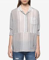 Calvin Klein Jeans Striped Roll-Tab Top