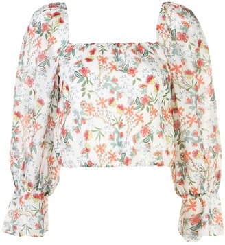 Alice + Olivia Square Neck Floral Pattern Blouse