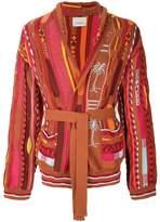Laneus patchwork cardigan