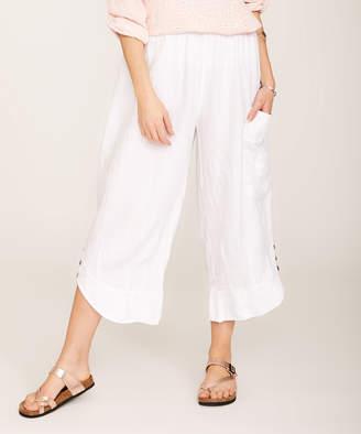 Ornella Paris Women's Casual Pants - White Linen Pocket Button-Accent Gaucho Pants - Women & Plus