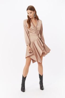 Coast Satin Wrap Ruffle Dress