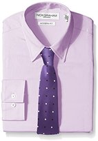 Nick Graham Everywhere Men's Light Solid Dress Shirt with Purple Two Color Dot Tie