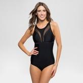 Vanilla Beach Sport Women's Mesh X-Back High Neck Strappy Back One Piece Swimsuit - Black