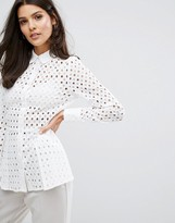 Warehouse Broderie Peplum Shirt