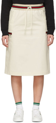 Gucci Off-White Canvas Panama Skirt