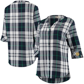 Women's Navy Notre Dame Fighting Irish Missy Plaid Button-Up 3/4-Sleeve Tunic