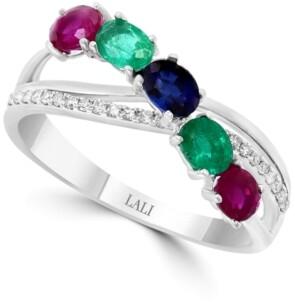 Macy's Lali Jewels Multi-Gemstone (7/8 ct. t.w.) & Diamond (1/10 ct. t.w.) Ring in 14k White Gold