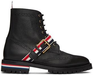 Thom Browne Black Strap Wingtip Boots