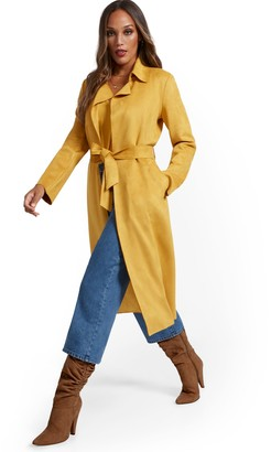 New York & Co. Faux-Suede Wrap Trenchcoat