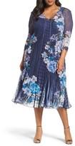 Komarov Plus Size Women's Print Chiffon & Lace Midi Dress