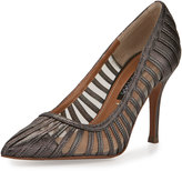 Neiman Marcus Preena Strappy Leather/Mesh Pump, Pewter