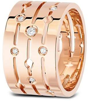 Dinh Van 18K Rose Gold Pulse Ring with Diamonds