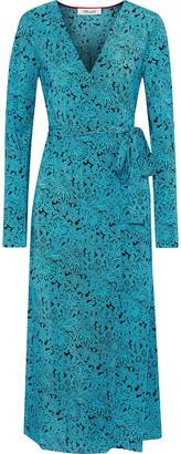 Diane von Furstenberg Printed Silk Crepe De Chine Midi Wrap Dress