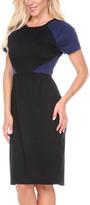 Stanzino Navy Color Block Short-Sleeve Sheath Dress