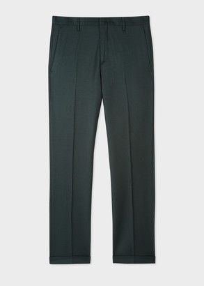 Paul Smith Men's Slim-Fit Dark Green Wool-Cashmere Pants
