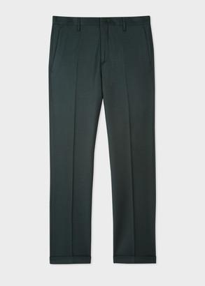 Paul Smith Men's Slim-Fit Dark Green Wool-Cashmere Trousers