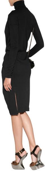 Vionnet Wool Jersey Turtleneck Dress in Black