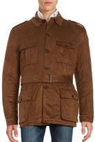 Black Brown 1826 Belted Faux Suede Field Jacket
