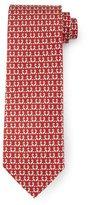 Salvatore Ferragamo Fox-Print Silk Tie, Red