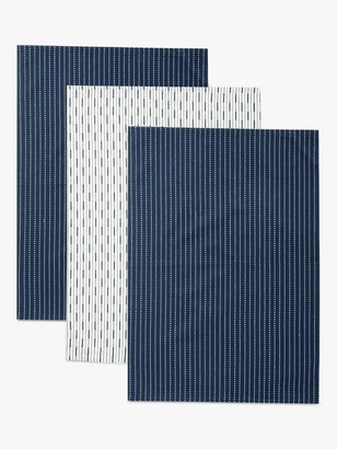 John Lewis & Partners Butcher's Stripe Tea Towels, Pack of 3, Dark Blue