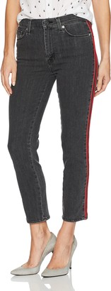 Hudson Women's Zoeey High Rise Ankle Straight Jeans with Tuxedo Stripe