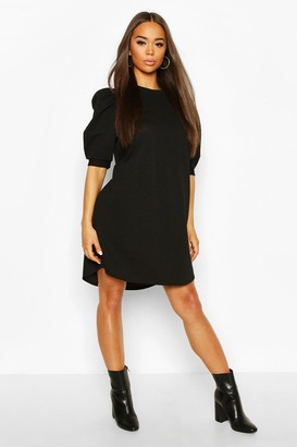 boohoo Crew Neck Swing Dress With Puff Sleeves