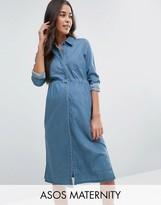 Asos Denim Mini Shirt Dress in Mid Wash Blue
