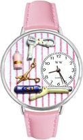 Whimsical Watches Personalized Beautician Womens Silver-Tone Bezel Pink Leather Strap Watch