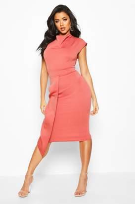 boohoo Cowl Neck Pleat Midi Dress