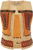 Alberta Ferretti Suede Vest With Metallic Embroidery