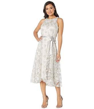Tahari ASL Sleeveless Embroidered High-Low Hem Dress