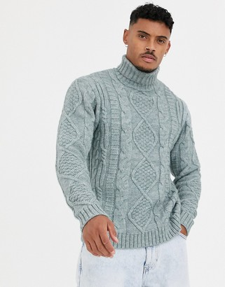 Asos Design DESIGN heavyweight cable knit roll neck jumper in light grey
