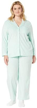 Karen Neuburger Plus Size Novelties Minky Long Sleeve Girlfriend PJ w/ Sock (Dot Dusty Aqua) Women's Pajama Sets