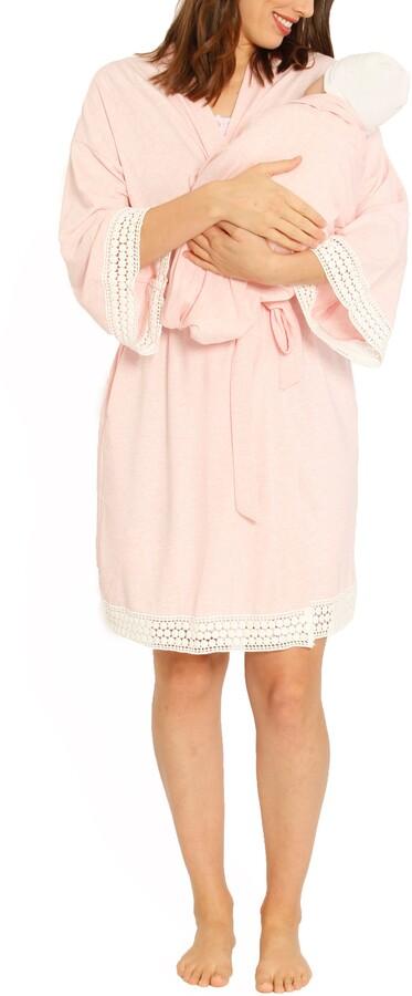 Angel Maternity Ruby Joy Maternity/Nursing Sleep Shirt, Robe & Baby Blanket Pouch Set