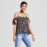 Mossimo Women's Woven Cold Shoulder Top Black Palm Print