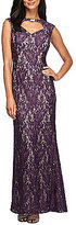 Alex Evenings Embroidered Lace Cutout Neck Sheath Dress