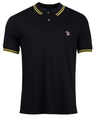 Paul Smith Supima Cotton Tipped Polo Shirt Colour: Black And Yellow, S