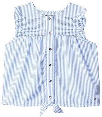 Tommy Hilfiger Adaptive Hawkins Tee with VELCRO(r) BRAND Closure at Center Front (Cornflower Blue/Multi) Women's Short Sleeve Button Up