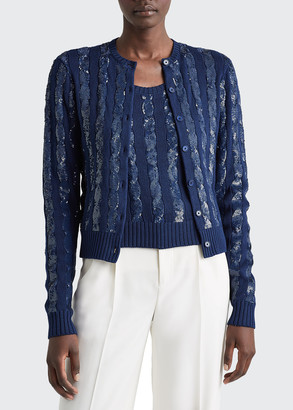Ralph Lauren Collection Sequined Silk Cable-Knit Sweater Cardigan