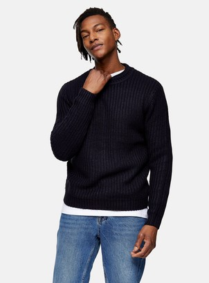Topman Navy And Black Chunky Jumper
