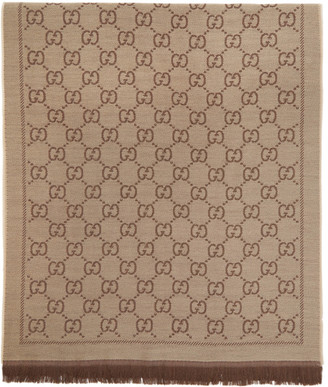 Gucci Brown Jacquard Wool GG Scarf