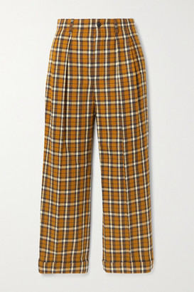 Saint Laurent Cropped Pleated Checked Wool Straight-leg Pants - Brown